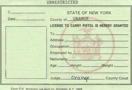 NY Pistol License, 2000, front